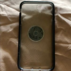 iPhone XS Max with phone grip pop stand